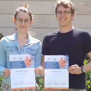 ברכות לדוקטורנטים מרינה בוז'ור וכפיר שטיינבוך מבית הספר לכימיה על זכייתם בפרסים בכנס הסקציה לכימיה תרופתית של החברה הישראלית לכימיה