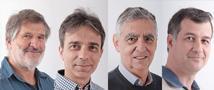 פרופ' ניסן יצחקי, פרופ' ירון עוז, פרופ' קובי זוננשיין ופרופ' שמעון ינקלביץ' הם חלק ממרכז מצוינות בין-אוניברסיטאי חדש של ISF לחקר תורת המיתרים